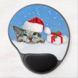 Gato del día de fiesta en personalizable del gorra alfombrillas con gel