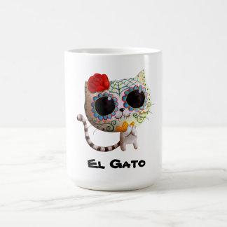 Gato del día de los muertos tazas de café