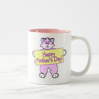 Gato del día de madre taza de café de dos colores