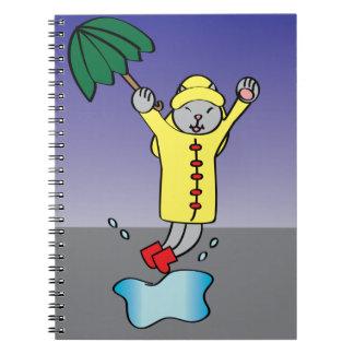 Gato del día lluvioso cuaderno