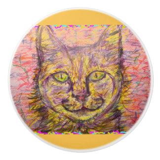 gato del día soleado pomo de cerámica