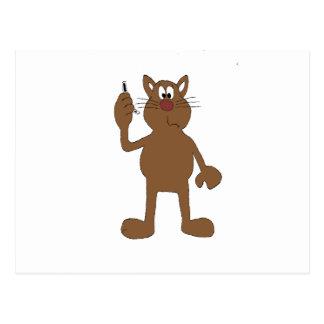 Gato del dibujo animado con el teléfono celular tarjetas postales