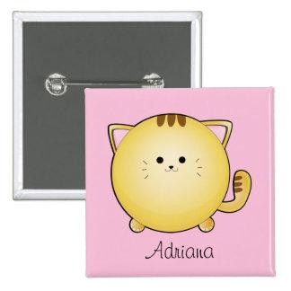 Gato del dibujo animado de Kawaii en insignia cono Pins
