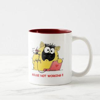 Gato del dibujo animado el Mug| LOL del gato y Taza De Dos Tonos