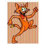 Gato del dibujo animado en el funcionamiento tarjeta postal