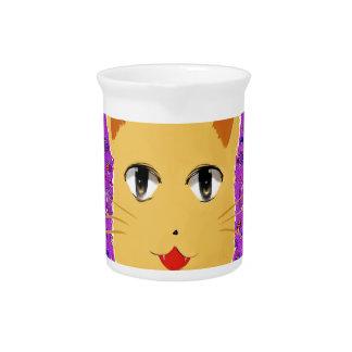 Gato del dibujo animado jarras para bebida
