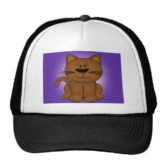 Gato del dibujo animado que se sienta en un fondo  gorras