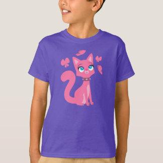 Gato del dibujo animado y camiseta rosados de los