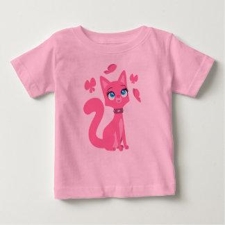 Gato del dibujo animado y camiseta rosados del