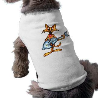 Gato del dibujo animado y guitarra de los pescados playera sin mangas para perro