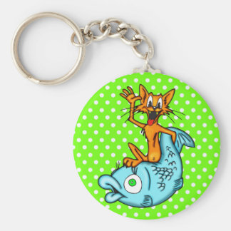 Gato del dibujo animado y pescados grandes llavero redondo tipo pin