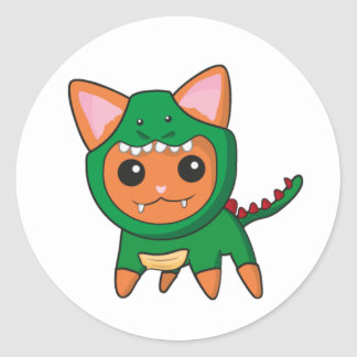 Gato del dinosaurio pegatina redonda