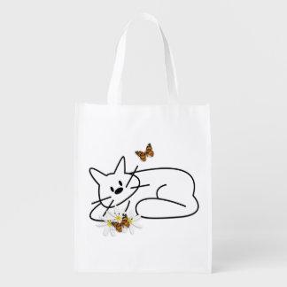 Gato del Doodle Bolsas Para La Compra