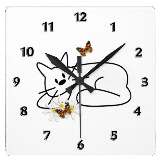 Gato del Doodle Reloj