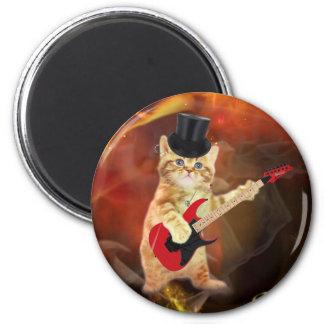 gato del eje de balancín en llamas imán redondo 5 cm
