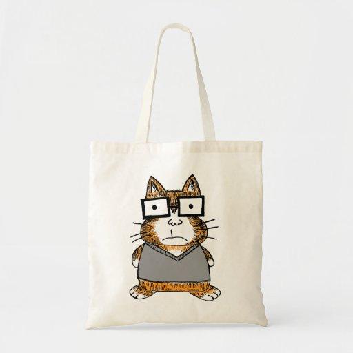 Gato del empollón bolsa tela barata