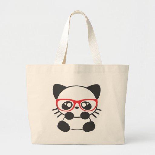 Gato del empollón bolsa tela grande