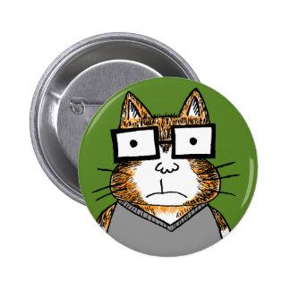 Gato del empollón pin redondo de 2 pulgadas
