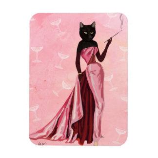 Gato del encanto en rosa imán de vinilo
