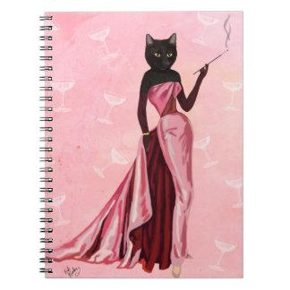 Gato del encanto en rosa note book