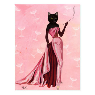 Gato del encanto en rosa postales