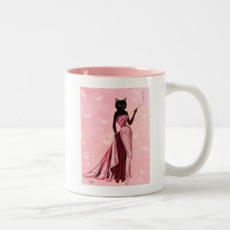 Gato del encanto en rosa taza de dos tonos