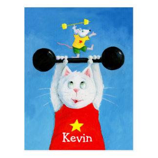 Gato del entrenamiento y postal divertida del rató