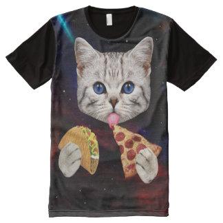 Gato del espacio con el taco y la pizza camisetas con estampado integral