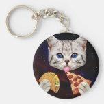 Gato del espacio con el taco y la pizza llavero redondo tipo pin