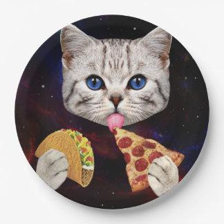 Gato del espacio con el taco y la pizza platos de papel