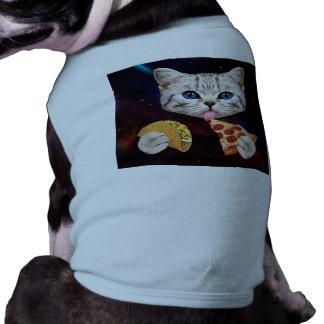 Gato del espacio con el taco y la pizza playera sin mangas para perro