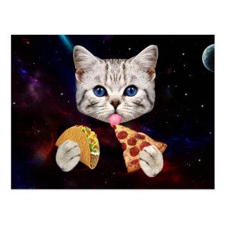 Gato del espacio con el taco y la pizza postales
