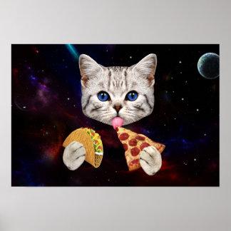 Gato del espacio con el taco y la pizza póster