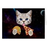 Gato del espacio con el taco y la pizza tarjeta de felicitación
