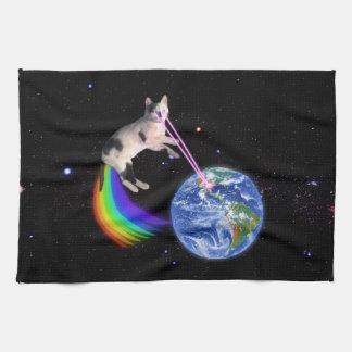 Gato del espacio del arco iris del laser toalla de cocina