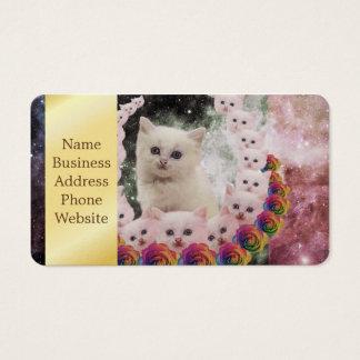 gato del espacio en flores tarjetas de visita