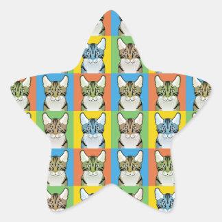 Gato del Estallido-Arte de Shorthair del americano Pegatina Forma De Estrella Personalizadas