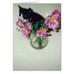 Gato del feliz cumpleaños con las flores en florer tarjeta