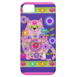 Gato del flower power iPhone 5 protectores