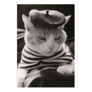 Gato del francés del vintage postales