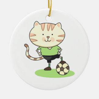 Gato del fútbol adorno de reyes
