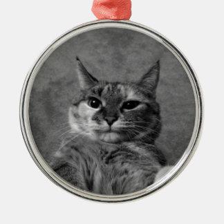 Gato del gatito adorno navideño redondo de metal