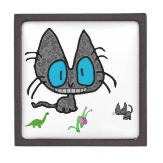 Gato del gatito con sus juguetes caja de joyas de calidad