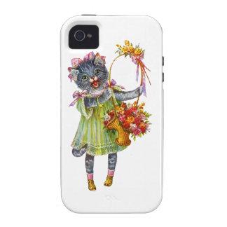 Gato del gatito de Arturo Theile con la cesta de l iPhone 4 Carcasas