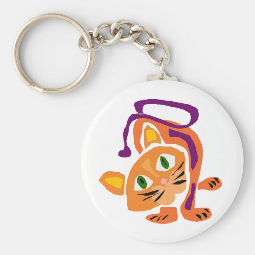 Gato del gatito de la diversión en estilo primitiv llaveros