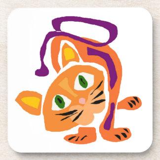 Gato del gatito de la diversión en estilo primitiv posavasos de bebidas
