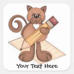 Gato del gatito de la escritura calcomanía cuadradas personalizadas