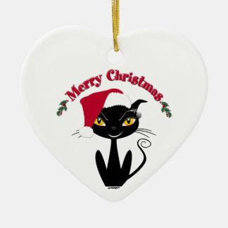 Gato del gatito de las Felices Navidad Adorno Navideño De Cerámica En Forma De Corazón