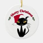 Gato del gatito de las Felices Navidad Adorno Redondo De Cerámica