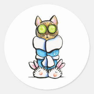 Gato del gatito del balneario pegatina redonda